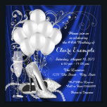 "Womans Royal Blue and Silver Birthday Party Luxe Invitation<br><div class=""desc"">Royal blue and silver birthday party invitation featuring beautiful silver glitter high heel shoes, balloons, champagne pearls and elegant silver swirls on a luxurious royal blue satin background. This elegant blue and silver birthday party invitation is easily customized for your event by simply adding your details in the font style...</div>"