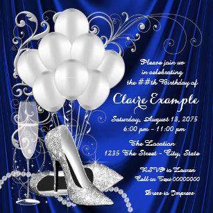 royal blue and silver invitations zazzle