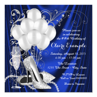 "Womans Royal Blue and Silver Birthday Party Luxe 5.25"" Square Invitation Card"