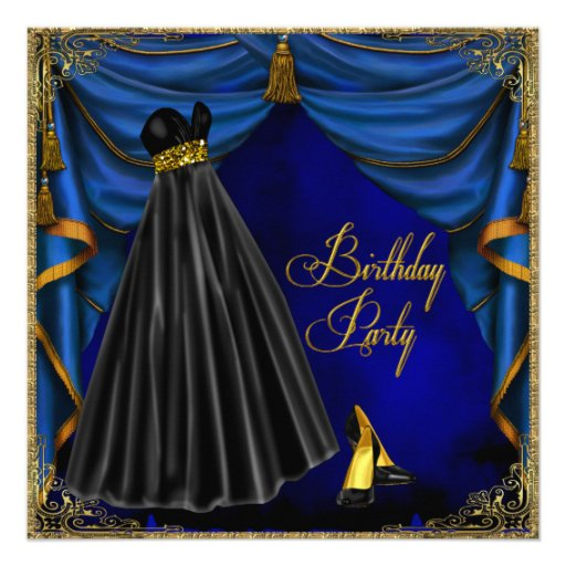 Womans Royal Blue Gold Birthday Party Custom Announcement