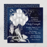"""Womans Royal Blue Silver Elegant  Birthday Party Invitation<br><div class=""""desc"""">Womans royal blue and silver birthday party invitation featuring beautiful silver glitter high heel shoes, balloons, champagne pearls and elegant silver swirls on a luxurious rich royal blue background. This elegant blue and silver birthday party invitation is easily customized for your event by simply adding your details in the font...</div>"""
