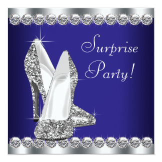 Womans Royal Blue Surprise Birthday Party Invitations