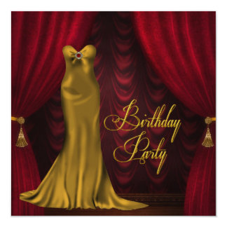 Womans Ruby Red Gold Art Deco Birthday Party Personalized Invitation