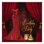 Womans Ruby Red Gold Birthday Party Custom Announcements