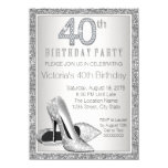 Womans Silver Glitter High Heel Shoe 40th Birthday Card