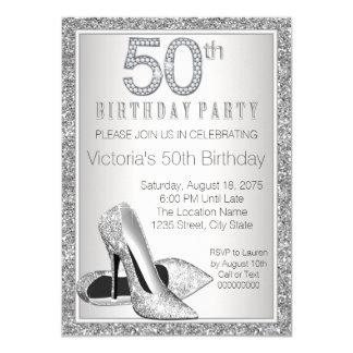 Womans Silver Glitter High Heel Shoe 50th Birthday Card