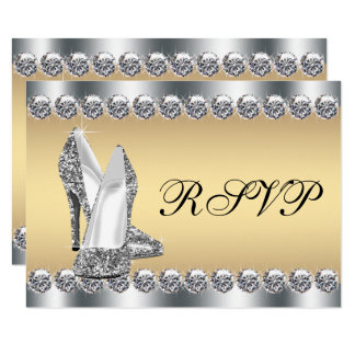 Womans Silver Gold Diamond Bling RSVP Card