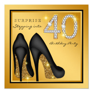 Womans Surprise 40th Birthday Party 5.25x5.25 Square Paper Invitation Card