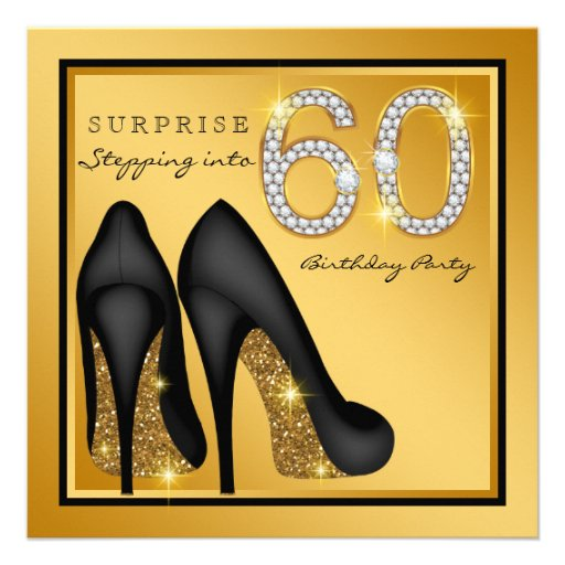 Womans Surprise 60th Birthday Party Custom Invite