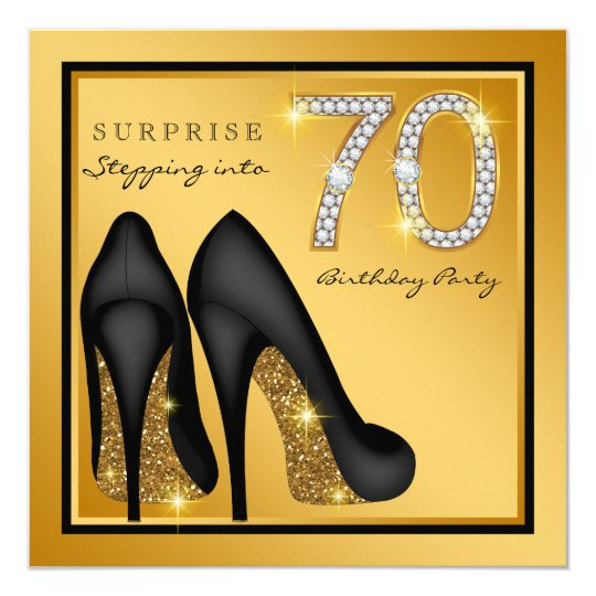 Womans Surprise 70th Birthday Party Invitation