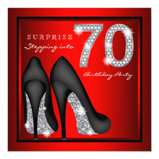 Womans Surprise 70th Birthday Party Red and Silver Card