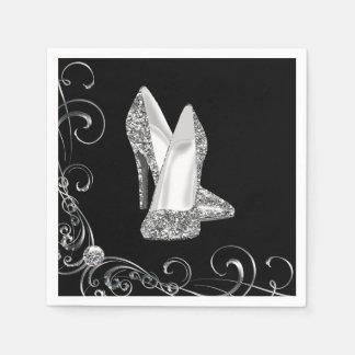 Womans Swirl Glitter High Heel Shoes Paper Napkin
