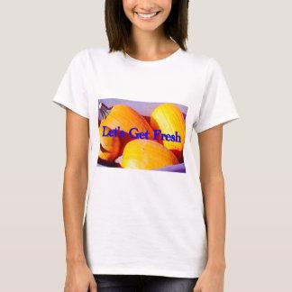 """woman's T-shirt """"Let's Get Fresh"""" pile pumpkins"""