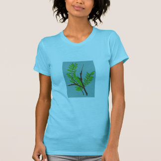 Woman's T-Shirt with Leaves and Twigs Nature Art