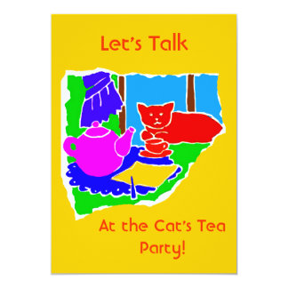 WOMANS TEA PARTY INVITE- GOLD BACKGROUND CARD
