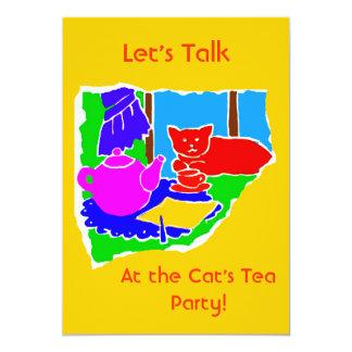 WOMANS TEA PARTY INVITE- GOLD BACKGROUND 5X7 PAPER INVITATION CARD