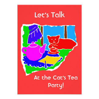 WOMANS TEA PARTY INVITE- RED BACKGROUND