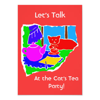 WOMANS TEA PARTY INVITE- RED BACKGROUND 5X7 PAPER INVITATION CARD