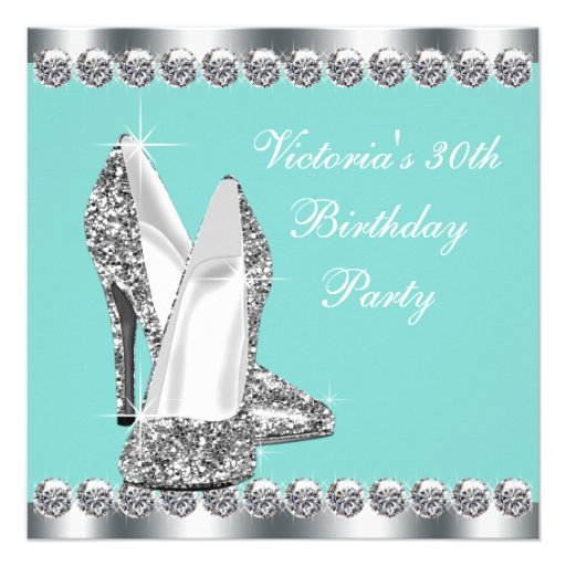 Womans Teal Blue 30th Birthday Party Invitations