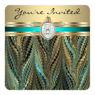 Womans Teal Blue and Gold Birthday Party Invitation