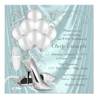 Womans Teal Blue and Silver Birthday Party Luxe Card