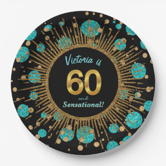 Womans Teal Blue Gold 60th Birthday Party Paper Plate