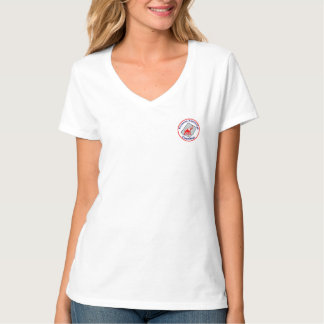 Womans V-neck T with Pocket badge and R Creed back Tee Shirt