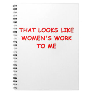 womans work note book
