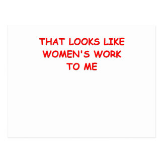womans work postcard