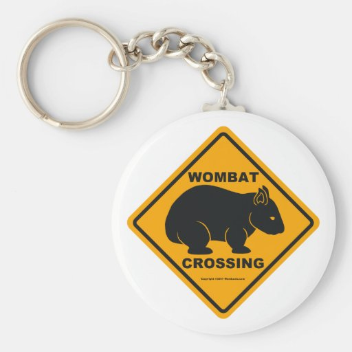 Wombat Crossing Sign Basic Round Button Keychain