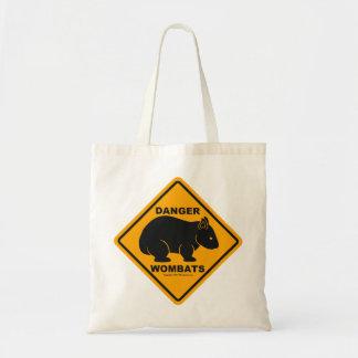 Wombat Danger Road Sign Budget Tote Bag