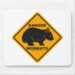 Wombat Danger Road Sign Mouse Pad