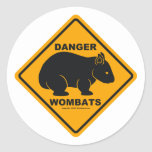 Wombat Danger Road Sign Round Stickers