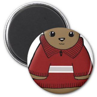wombat en suéter con el JPEG de la raya Imán De Frigorífico