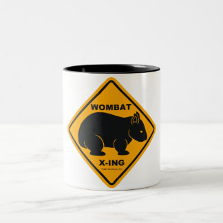Wombat X-ing Road Sign Two-Tone Coffee Mug