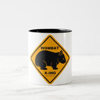 Wombat X-ing Road Sign Two-Tone Coffee Mug
