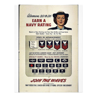 """Women 20 To 36 Earn A Navy Rating 8.5"""" X 11"""" Flyer"""