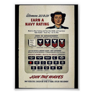 Women 20 To 36 Earn A Navy Rating Poster