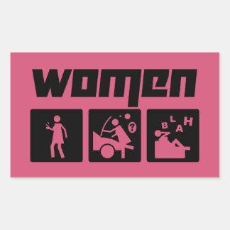 Women 3 rectangular sticker