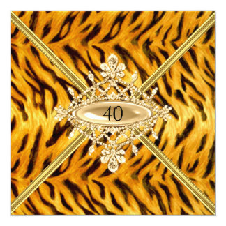 Women 40th Birthday Party Bengal Tiger effect Card