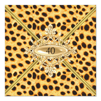Women 40th Birthday Party Cheetah effect Card