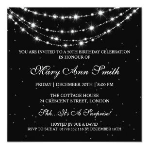 Women 50th birthday party invitations announcements zazzle women 50th birthday party sparkling chain black card filmwisefo Gallery