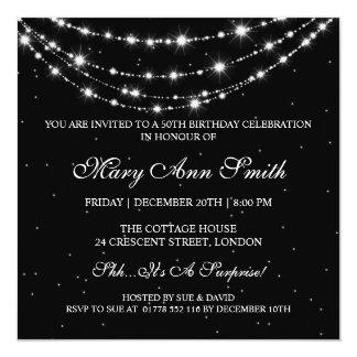 Women 50th Birthday Party Sparkling Chain Black Invitation
