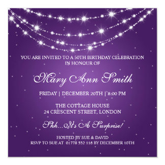 Women 50th Birthday Party Sparkling Chain Purple Card