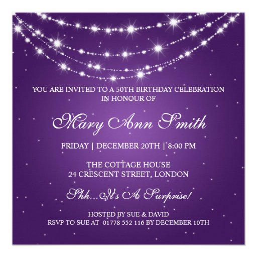 Women 50th Birthday Party Sparkling Chain Purple Custom Invites