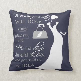 Women and cat quote throw pillow