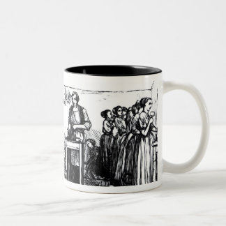Women and Children Making Shoes Two-Tone Coffee Mug