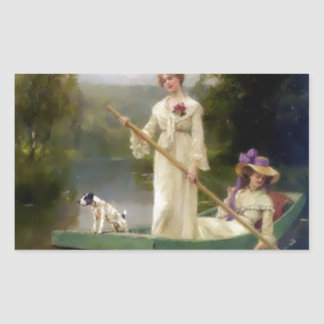Women and Dog in a Boat Painting Stickers