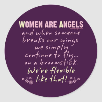 Women are Angels Classic Round Sticker