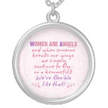 Women are Angels Round Pendant Necklace